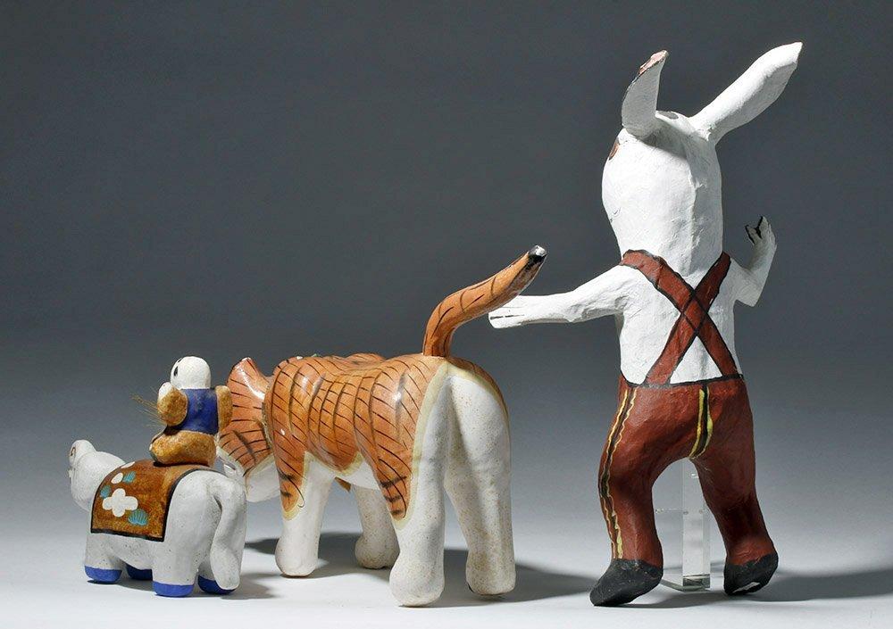 Lot of 3 Japanese Papier-Mache Animals - 2