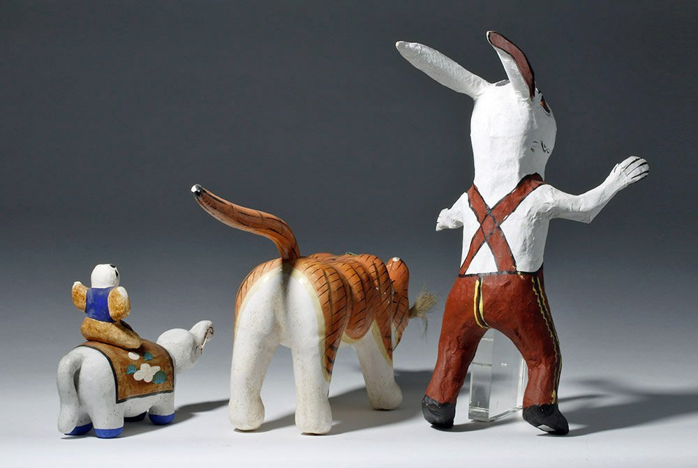 Lot of 3 Japanese Papier-Mache Animals - 3