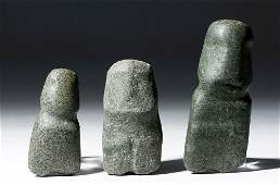 Lot of 3 Mezcala Guerrero Stone Axe Gods