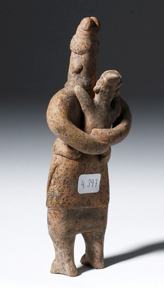 Adorable Colima Pottery Figure - Mother & Child - 2