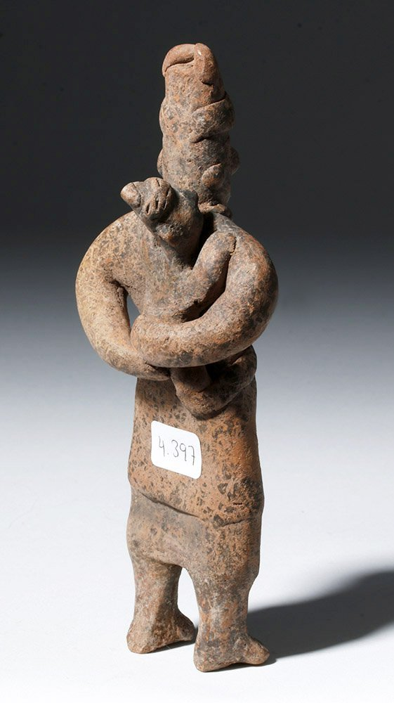 Adorable Colima Pottery Figure - Mother & Child - 3