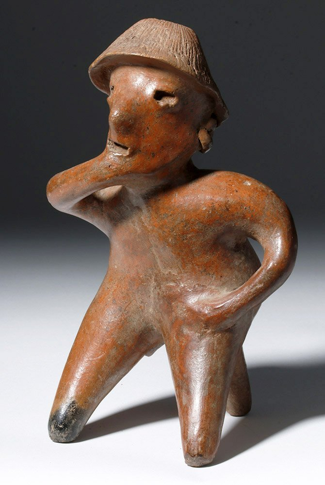 """Pre-Columbian Jalisco Redware Pottery Seated """"Thinker"""""""