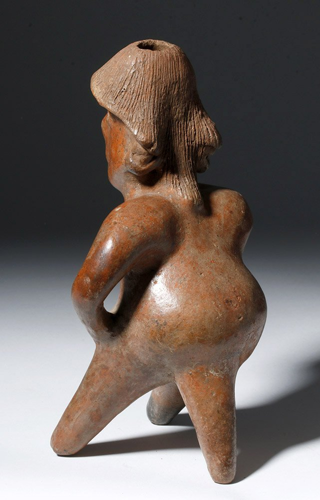 """Pre-Columbian Jalisco Redware Pottery Seated """"Thinker"""" - 2"""