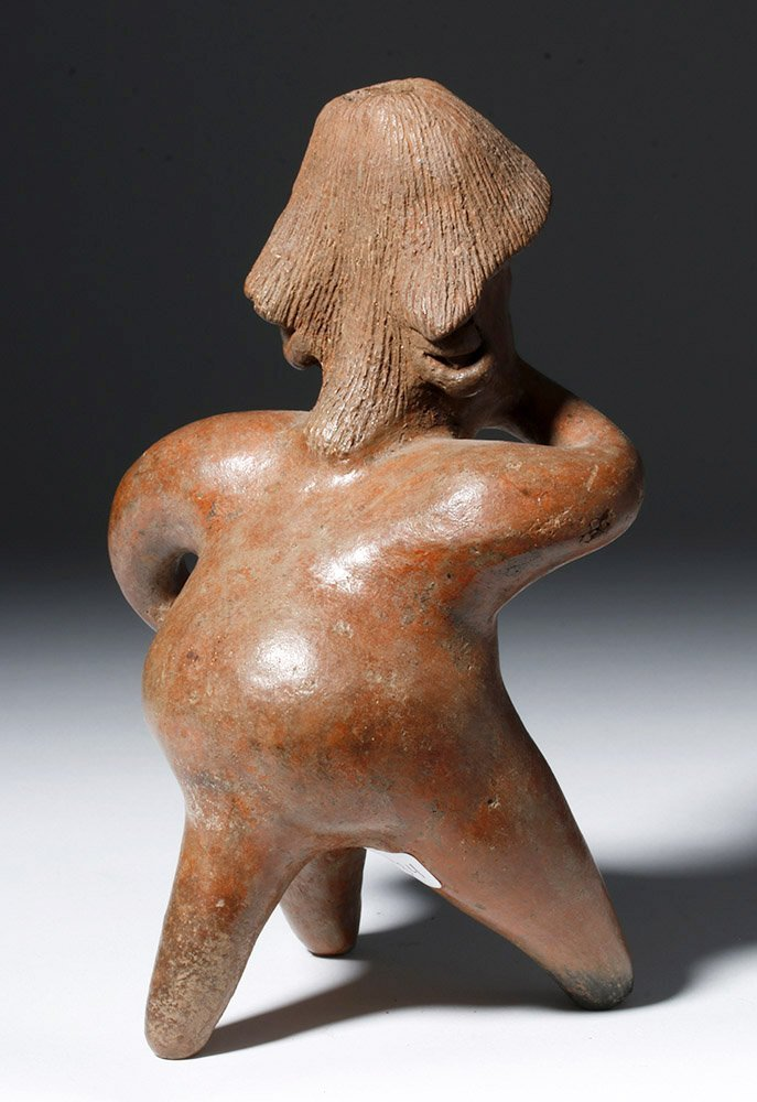 """Pre-Columbian Jalisco Redware Pottery Seated """"Thinker"""" - 3"""