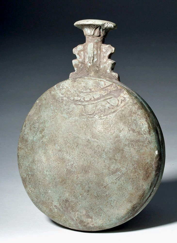 Ancient Egyptian Faience Flask w/ Baboons