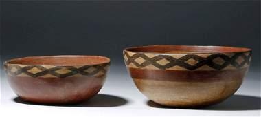 Nesting Pair of Cajamarca Polychrome Terracotta Bowls