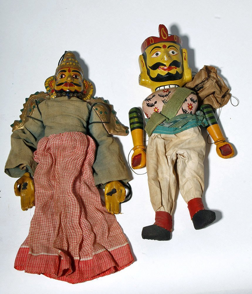 Lot of 2 Indian Articulated Puppet Figures
