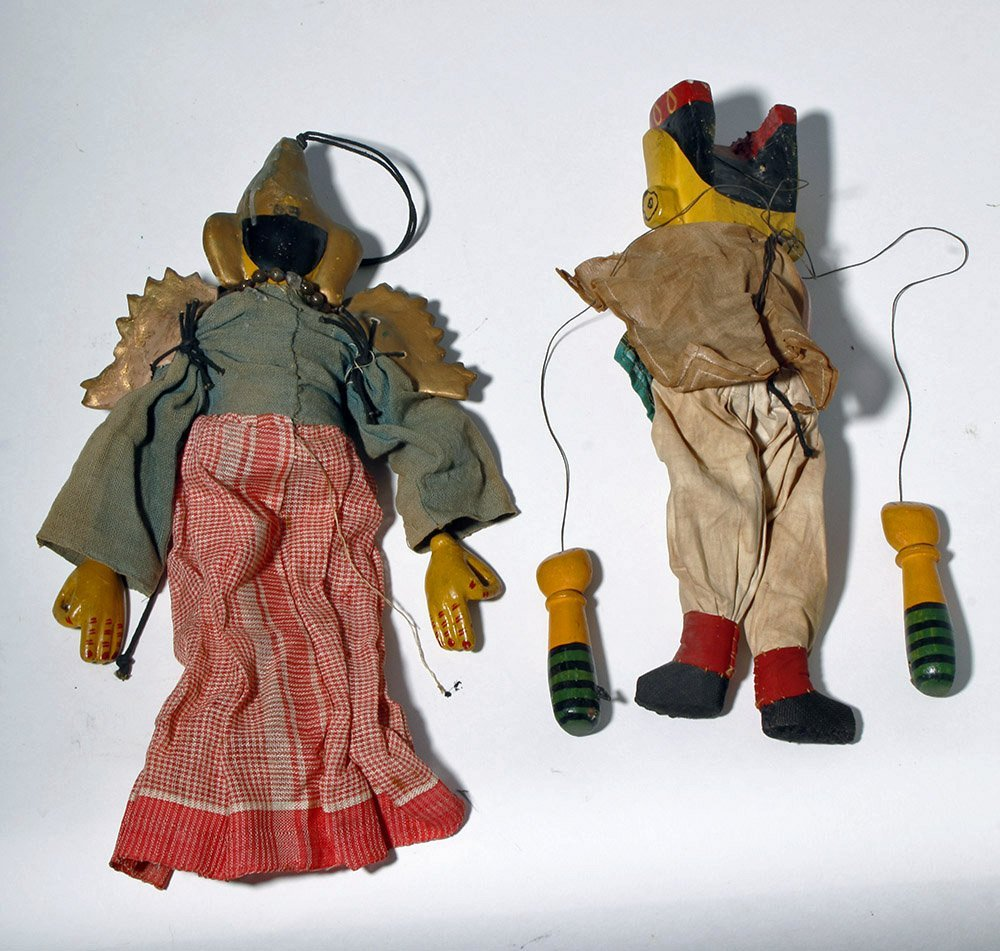 Lot of 2 Indian Articulated Puppet Figures - 2