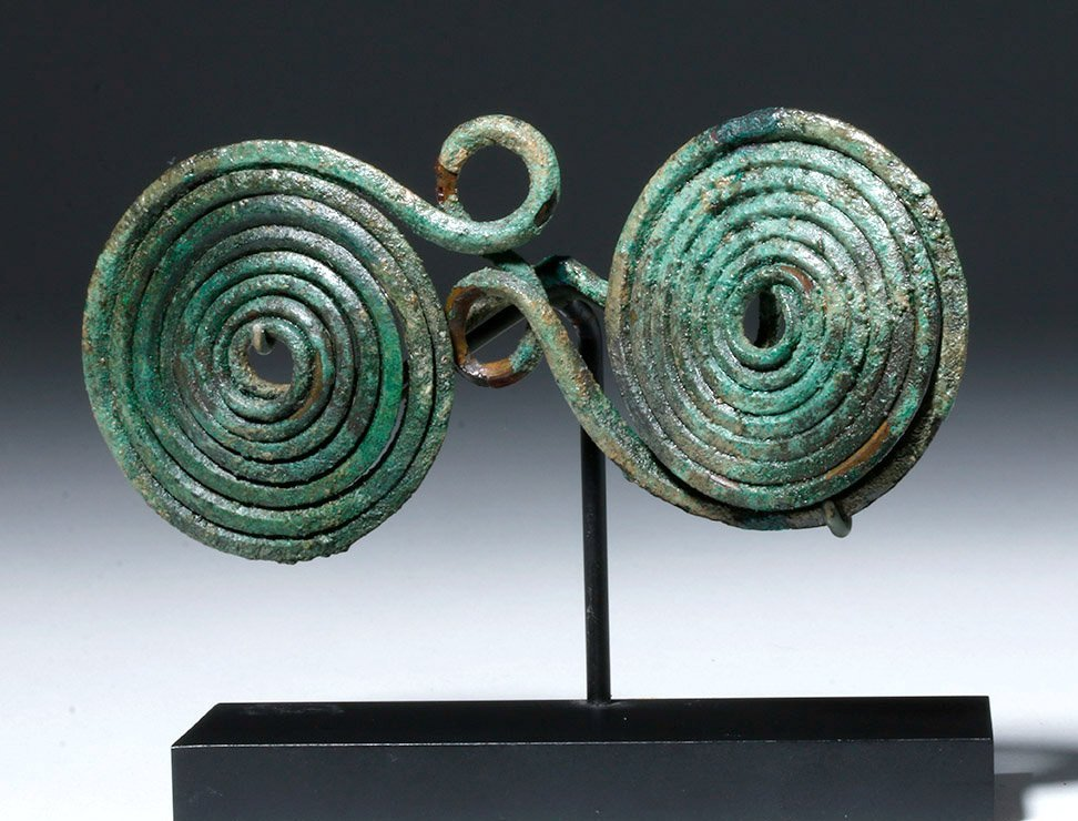 European Hallstatt Bronze Spectacle Fibula (Brooch)