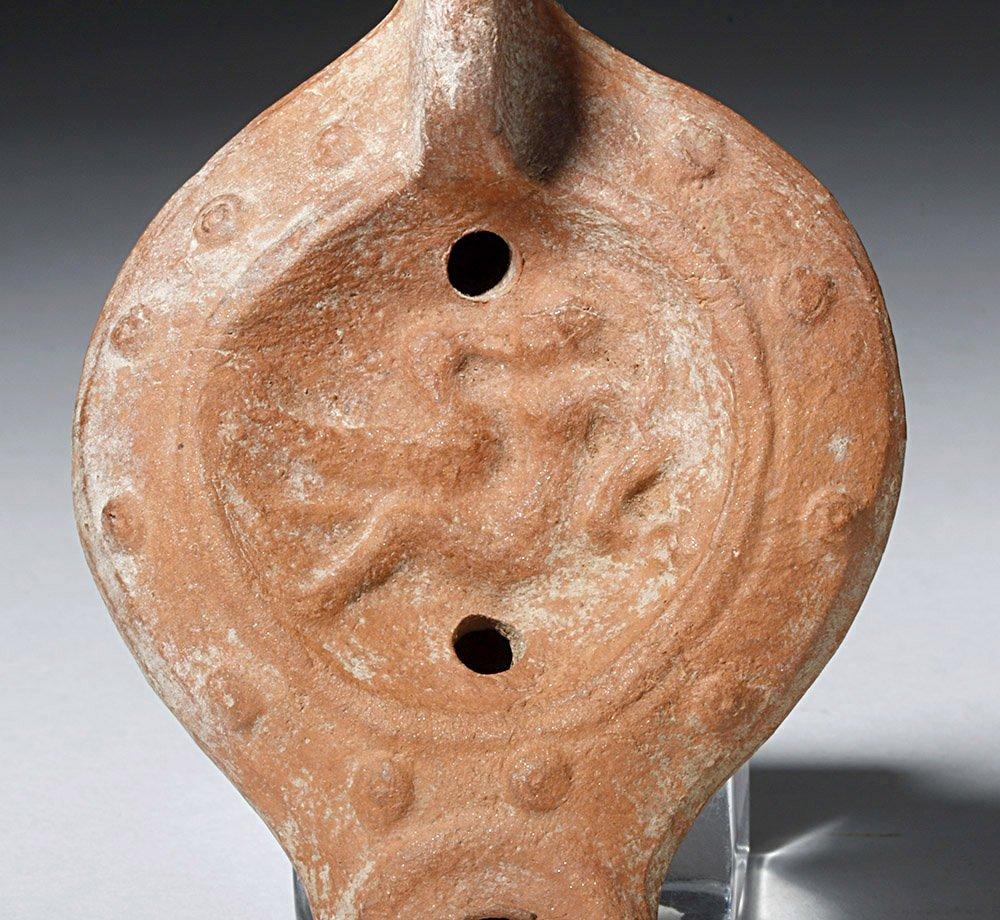 Roman Pottery Oil Lamp - Leda & the Swan - 2