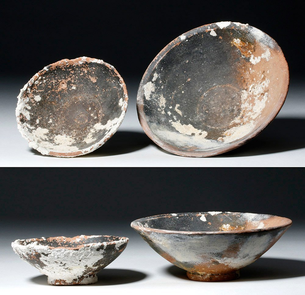 Lot of 2 Roman Sea-Salvaged Terracotta Plates