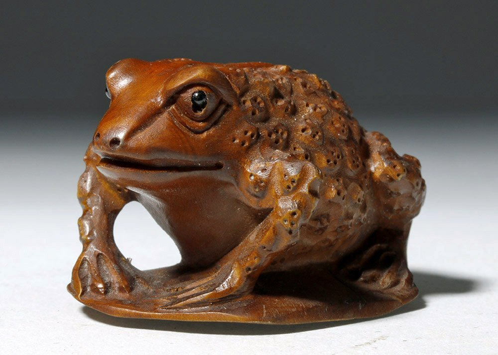 Japanese Meiji Period Boxwood Netsuke - Frog - 4