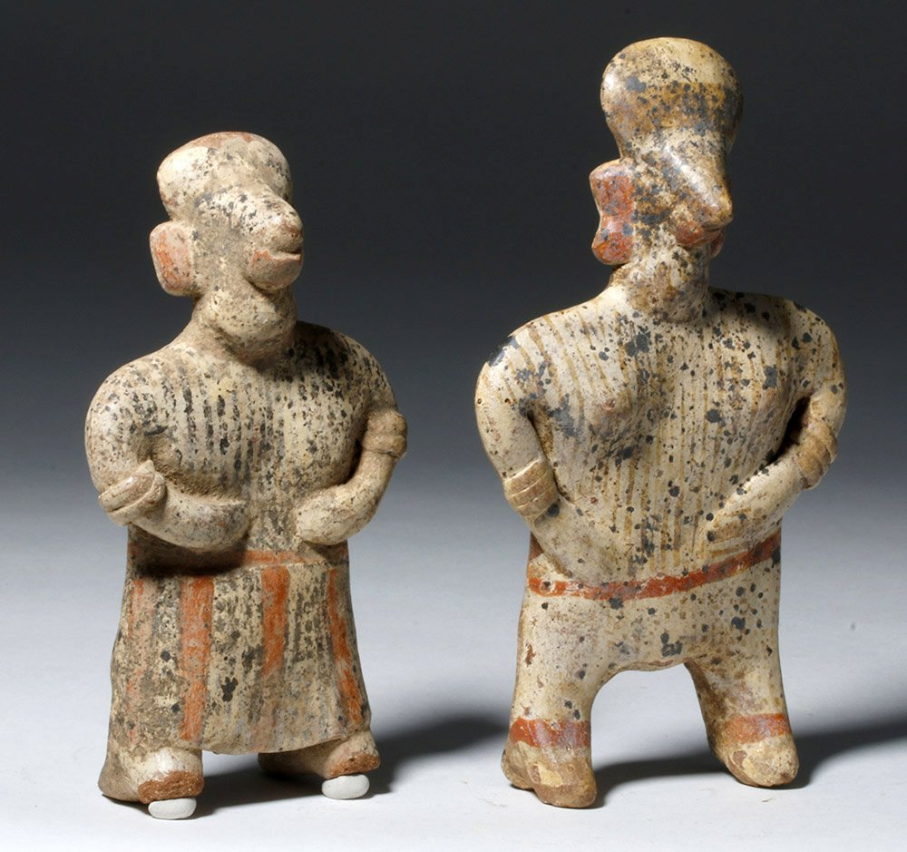 Pair Nayarit Polychrome Pottery Standing Figures