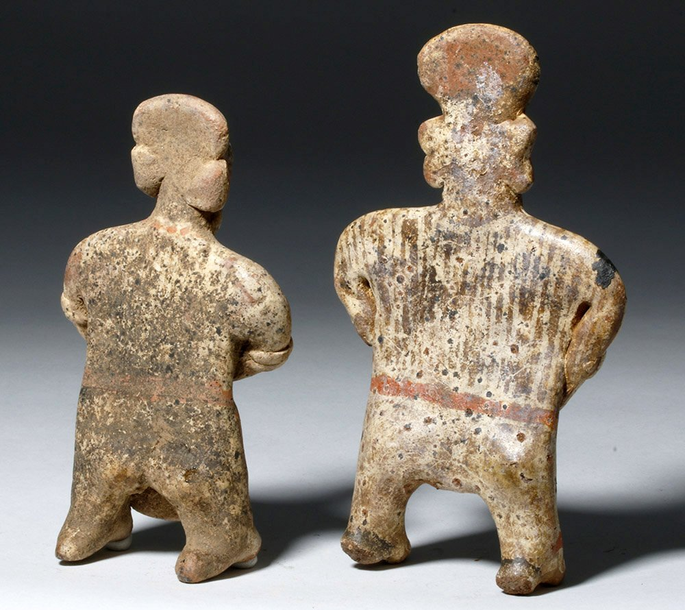 Pair Nayarit Polychrome Pottery Standing Figures - 3