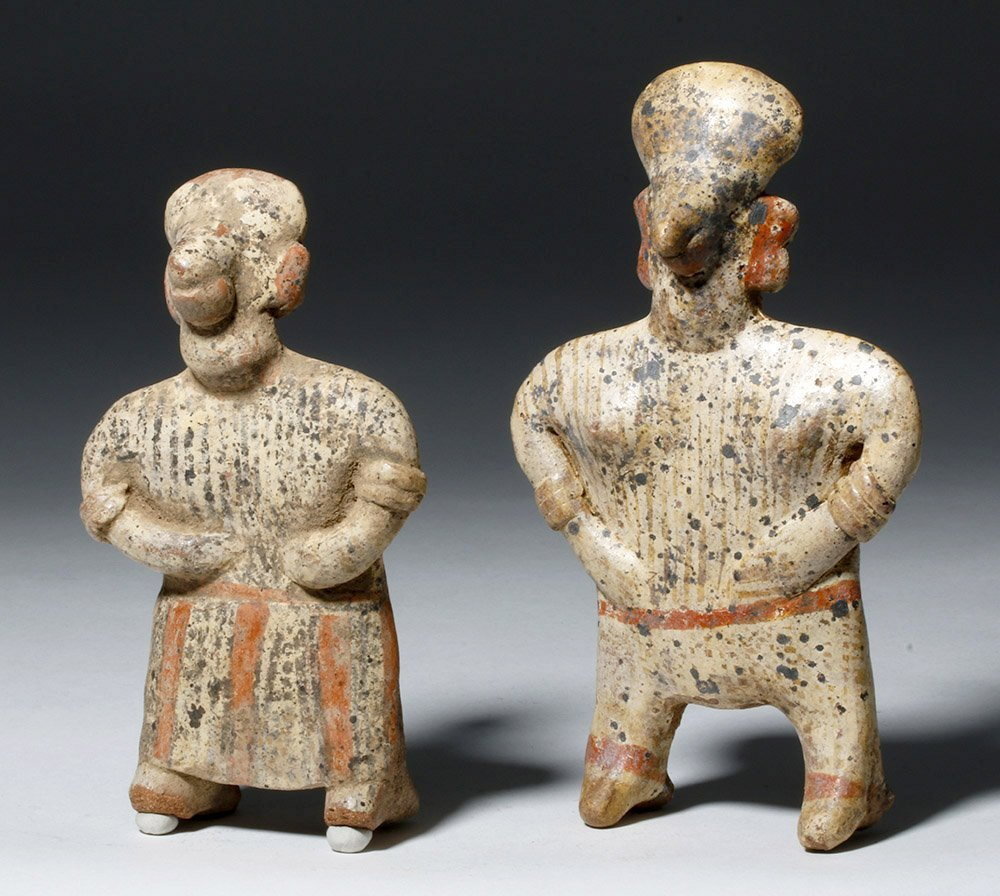 Pair Nayarit Polychrome Pottery Standing Figures - 4