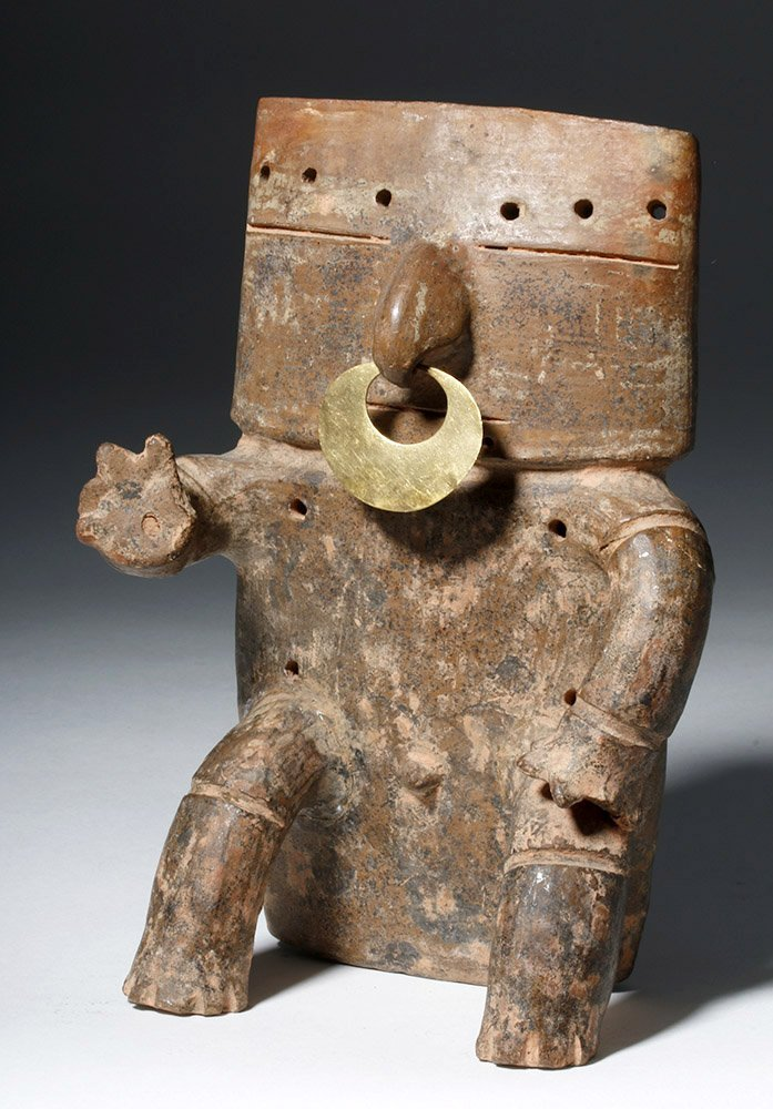 Quimbaya Pottery Seated Figure w/ Gold Nose Ring