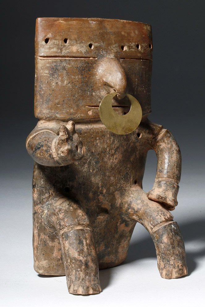 Quimbaya Pottery Seated Figure w/ Gold Nose Ring - 4