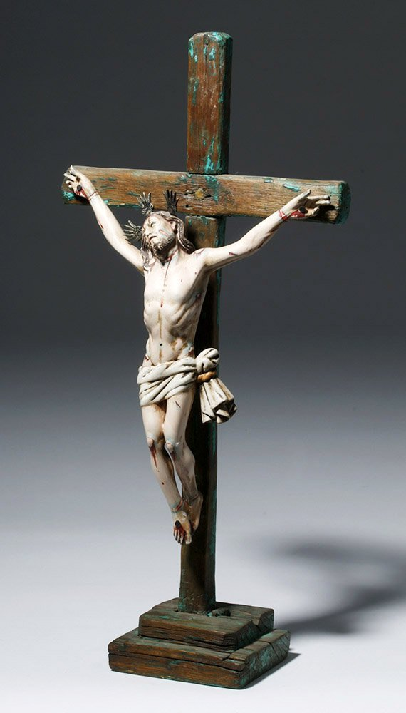 20th C.  Painted Wood Crucifix w/ Cristo