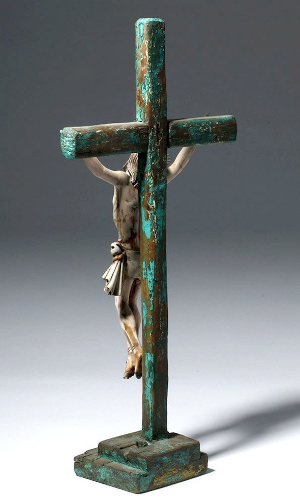 20th C.  Painted Wood Crucifix w/ Cristo - 2