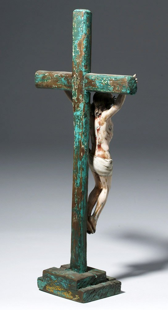 20th C.  Painted Wood Crucifix w/ Cristo - 3