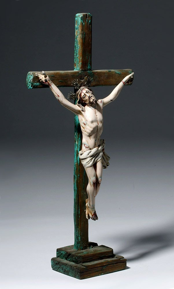 20th C.  Painted Wood Crucifix w/ Cristo - 4