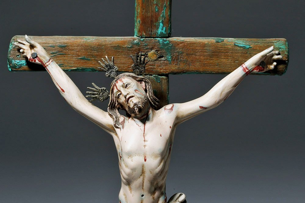 20th C.  Painted Wood Crucifix w/ Cristo - 5