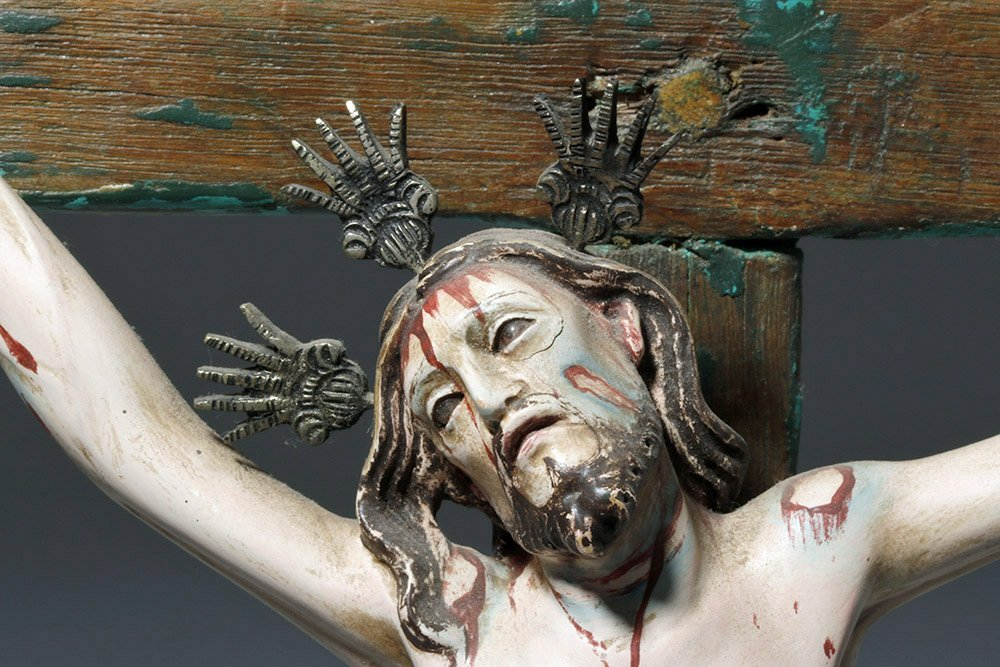 20th C.  Painted Wood Crucifix w/ Cristo - 6