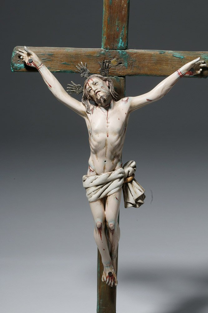 20th C.  Painted Wood Crucifix w/ Cristo - 7