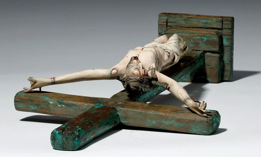 20th C.  Painted Wood Crucifix w/ Cristo - 8