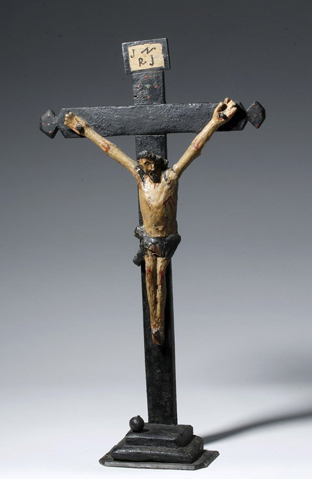 19th C. Portuguese Carved / Painted Wood Crucifix