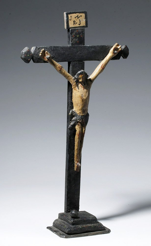 19th C. Portuguese Carved / Painted Wood Crucifix - 4