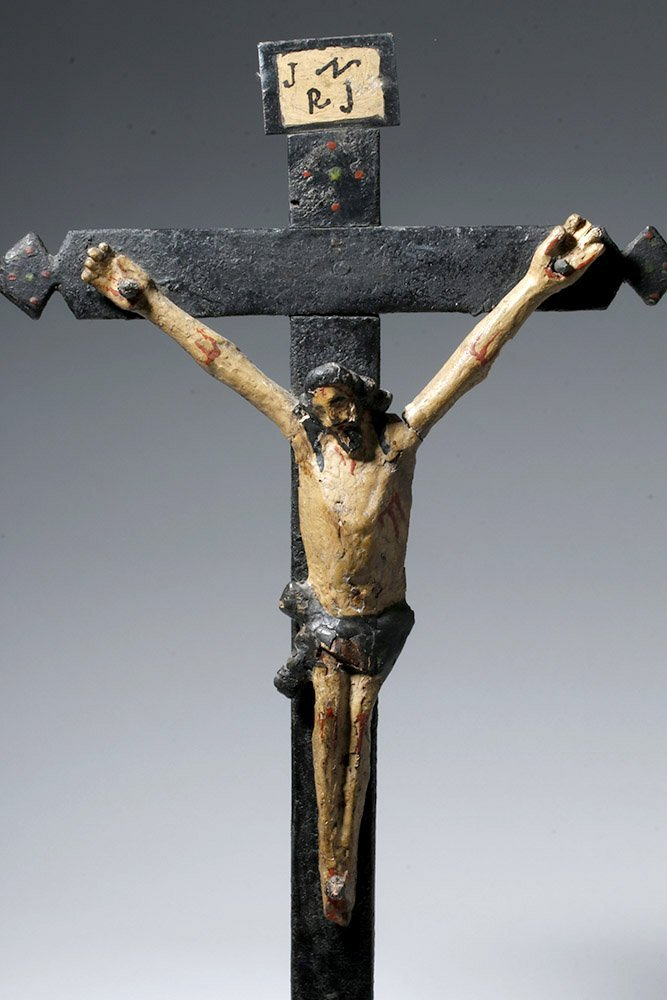 19th C. Portuguese Carved / Painted Wood Crucifix - 5