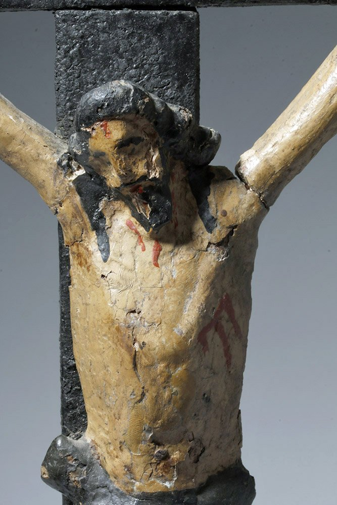 19th C. Portuguese Carved / Painted Wood Crucifix - 6