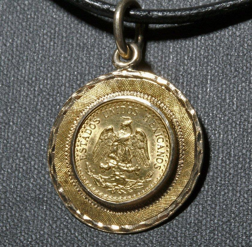1945 Mexican Dos Pesos Gold Coin / 14K Gold Pendant