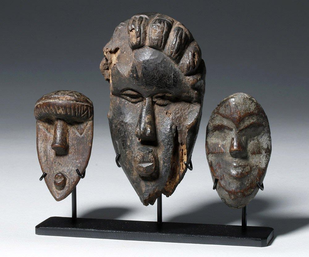 Three Authentic African Wooden Dan Passport Masks