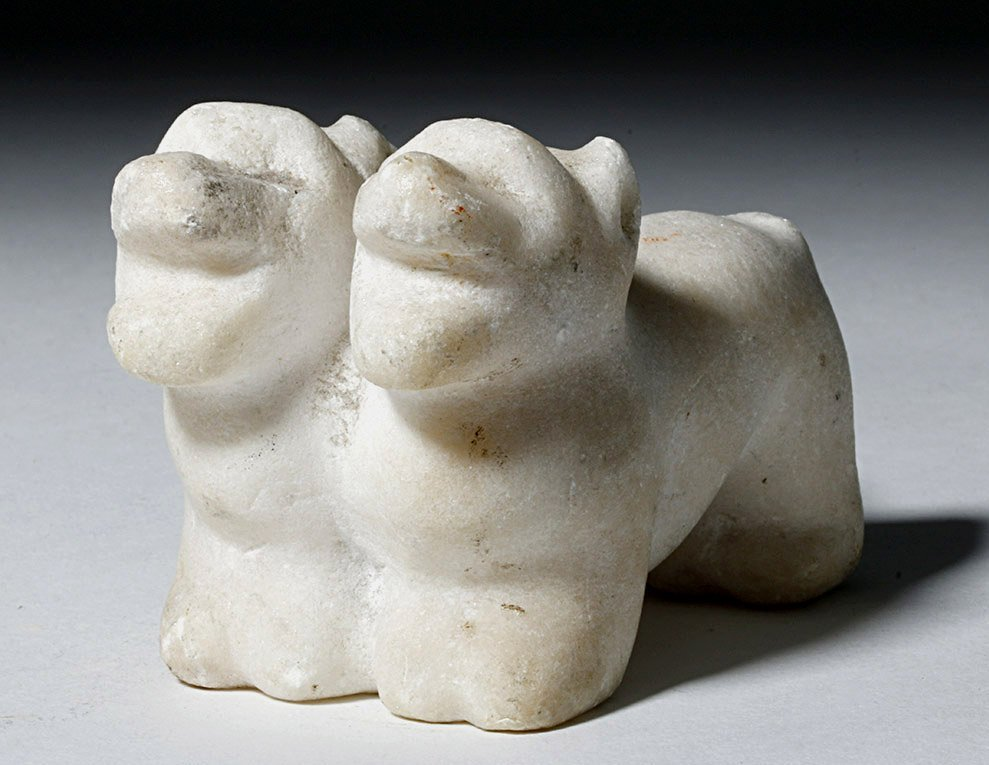12th C. English Marble Statuette - Conjoined Dogs - 2
