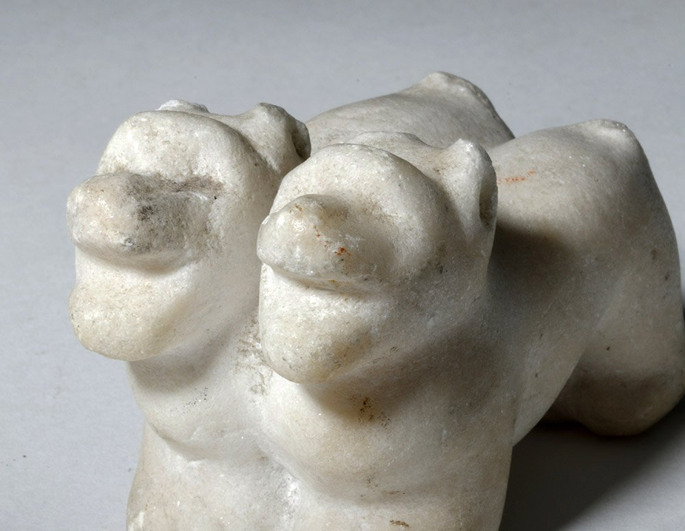 12th C. English Marble Statuette - Conjoined Dogs - 5