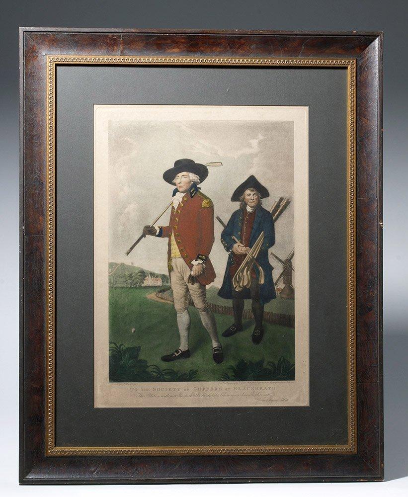 19th C. Tinted Mezzotint Engraving - Goffers (Golfers)