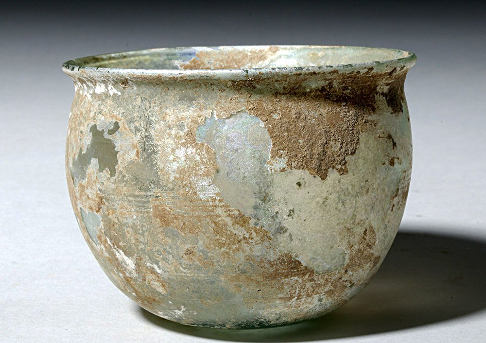 Beautiful Roman Green Glass Bowl w/ Incised Lines - 2