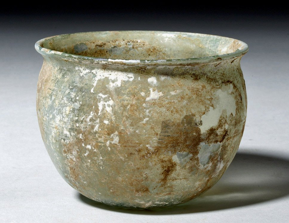 Beautiful Roman Green Glass Bowl w/ Incised Lines - 3