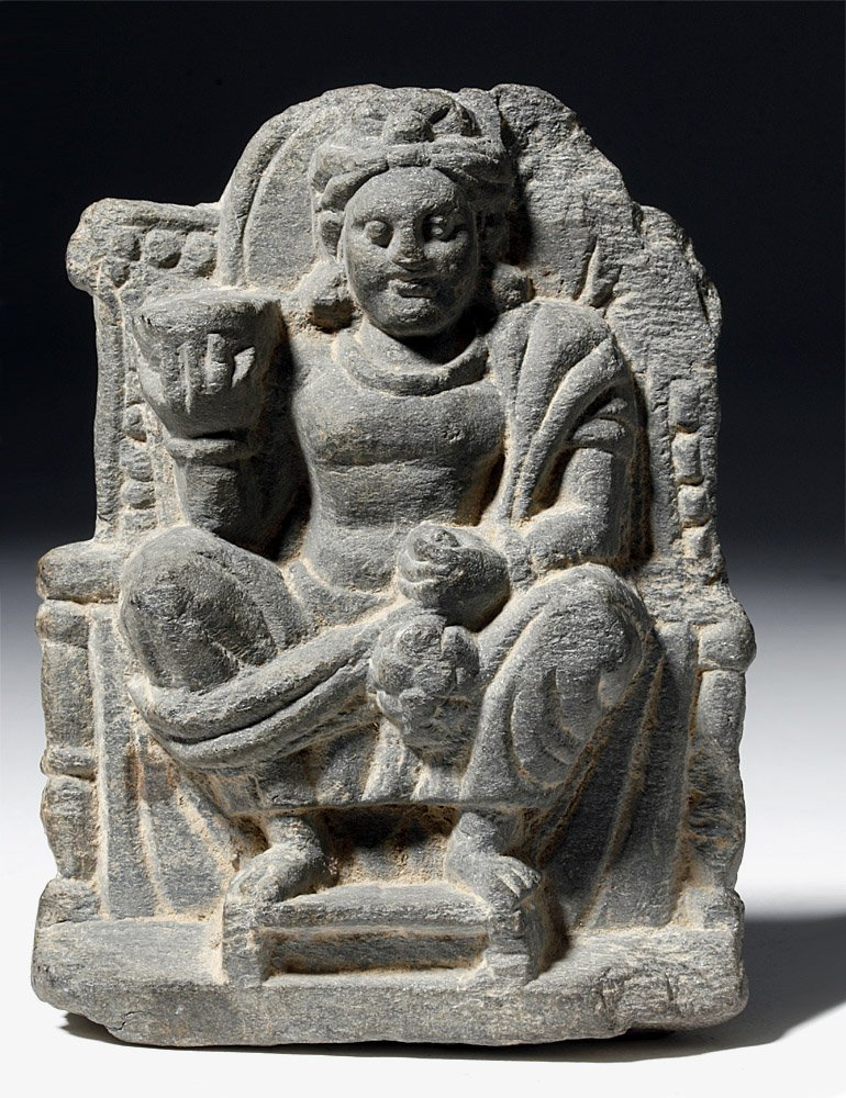 Gandharan Stone Carving of Seated Buddha