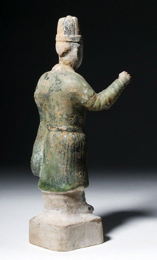 Chinese Ming Dynasty Glazed Pottery Attendant - 3