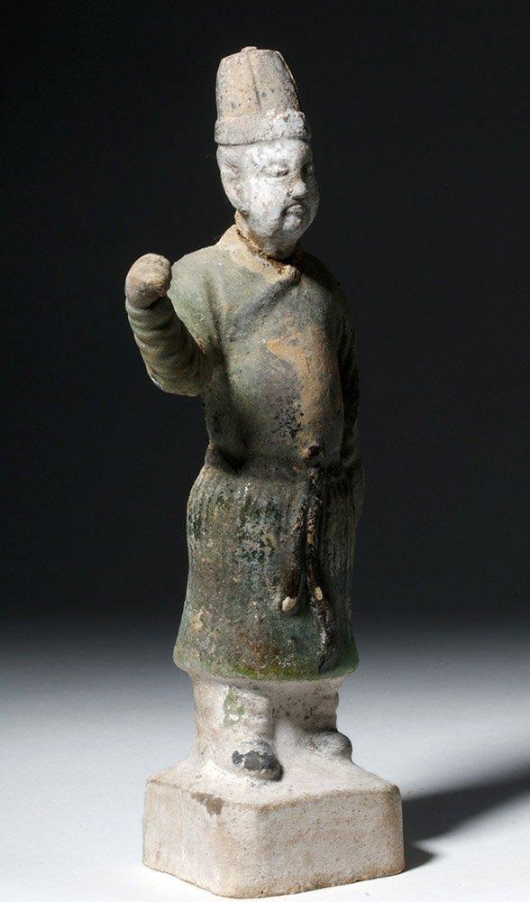 Chinese Ming Dynasty Glazed Pottery Attendant - 4