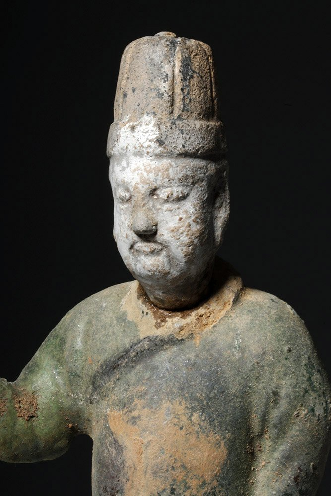 Chinese Ming Dynasty Glazed Pottery Attendant - 5