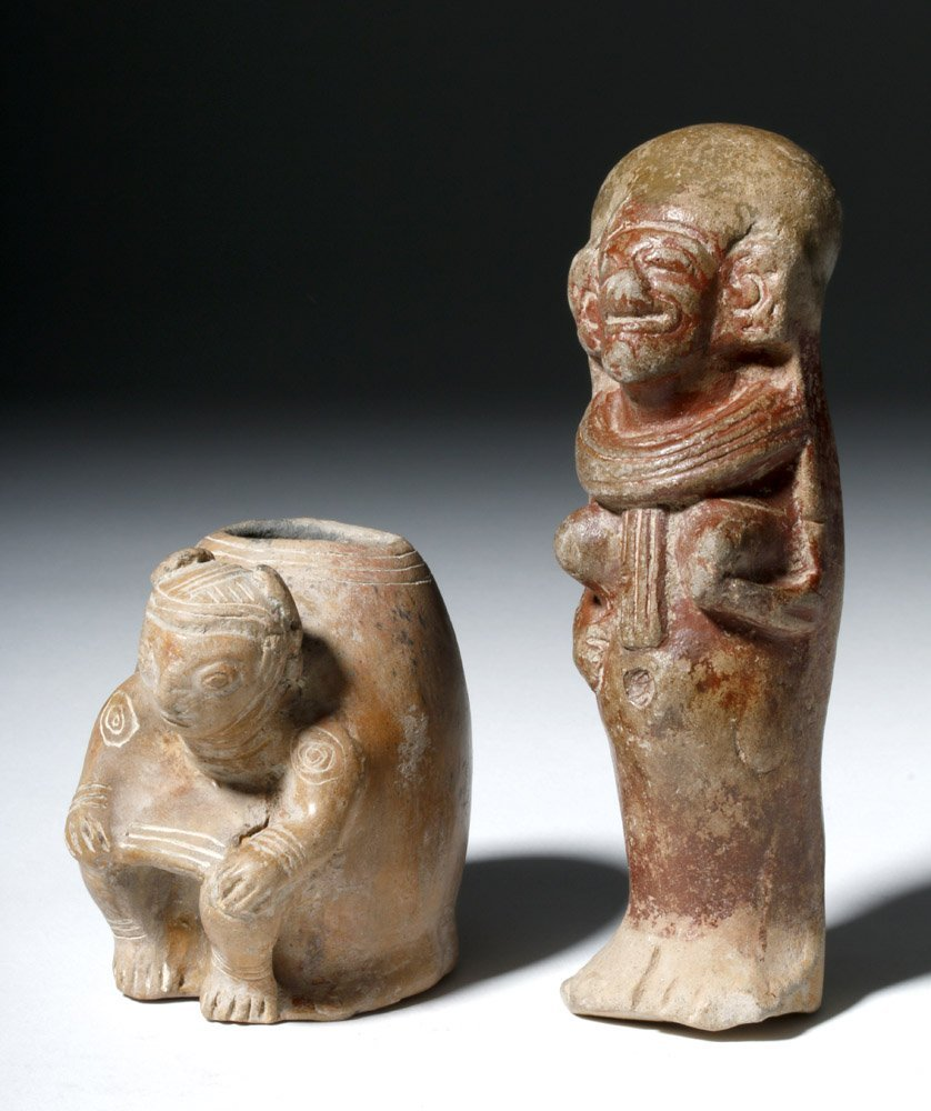 Lot of 2 Manabi / Bahina Pottery Figural Objects