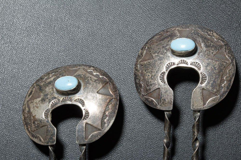Early Navajo Silver Squash Blossom Necklace & Hair Pins - 9