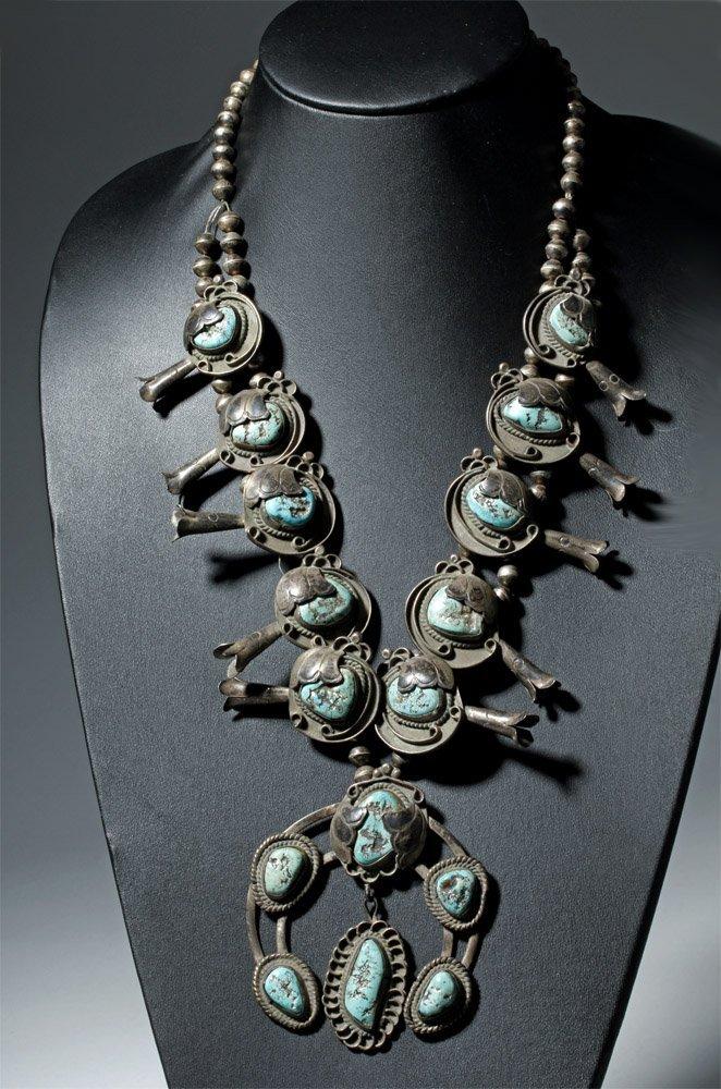 Early Navajo Silver Squash Blossom Necklace & Hair Pins