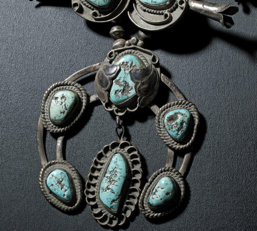 Early Navajo Silver Squash Blossom Necklace & Hair Pins - 2