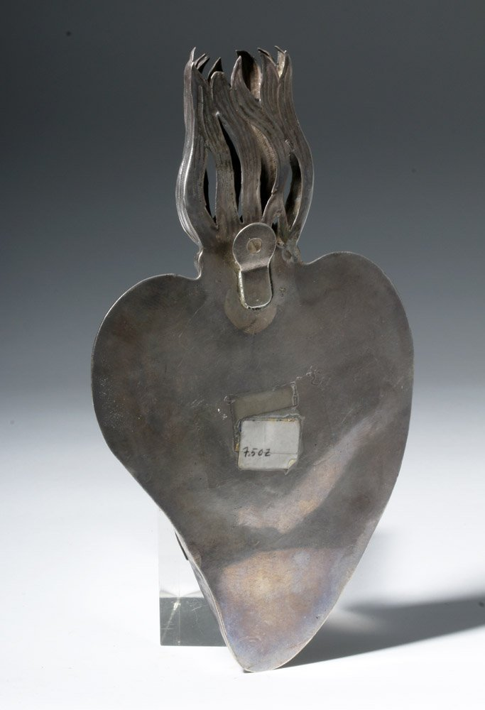 Heavy Bolivian Sterling Silver Heart Container - 5