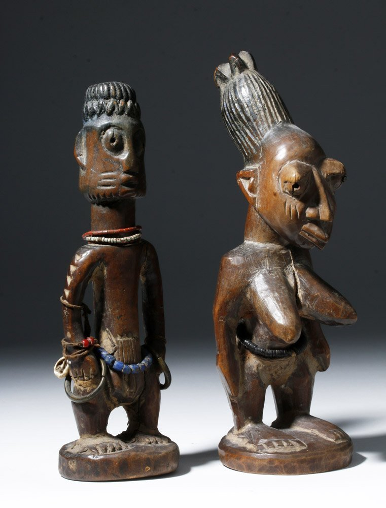 Fine Old African Wooden Ibeji Pair